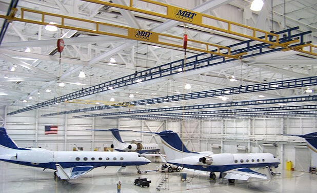 airplanes in hanger
